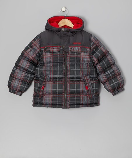 Red Plaid Puffer Coat - Kids