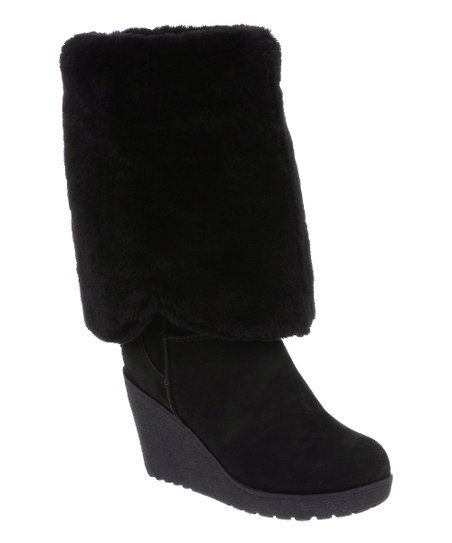 Black Suede Highland Fold-Over Boot - Women