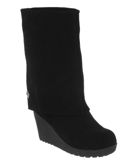Black Suede Waverly Fold-Over Boot - Women