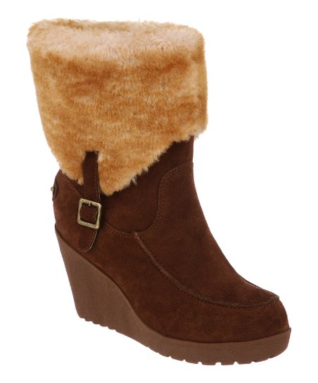 Hickory Suede Flatbush Fold-Over Wedge Boot - Women