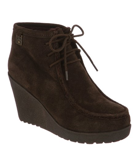 Chocolate Suede Astoria Wedge Boot - Women