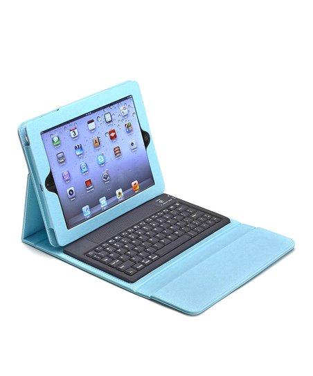 Turquoise Bluetooth Keyboard Folio Case for iPad 2/3/4