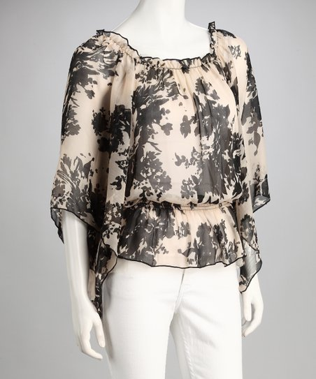Peach Floral Diana Top