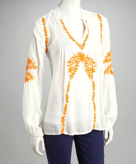 White & Saffron Embroidered Top