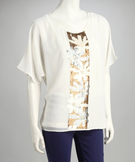 Ivory Floral Sheer Sequin Layered Top
