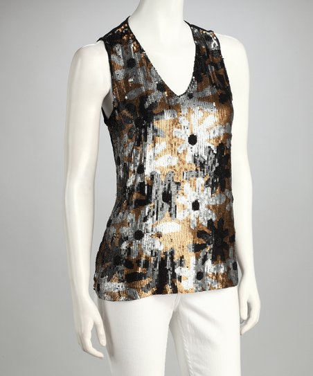 Black Floral Sequin Sleeveless Top