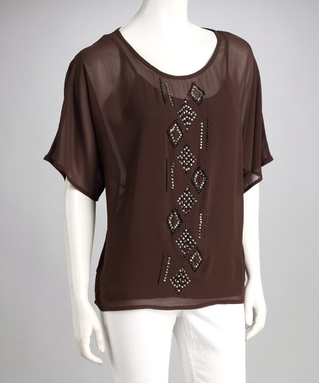 Mocha Sparkle Tribal Layered Top
