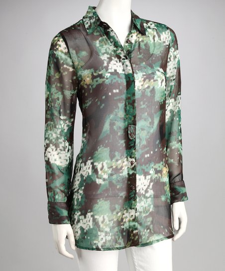 Green Abstract Sheer Button-Up