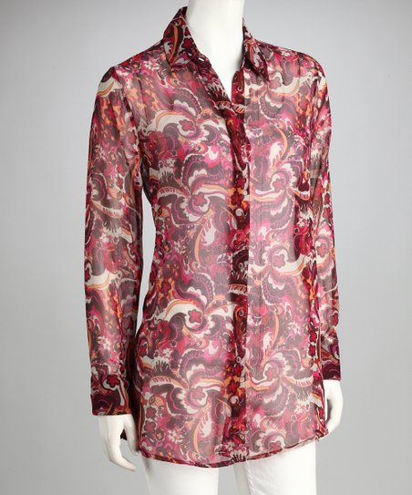 Pink Abstract Sheer Button-Up