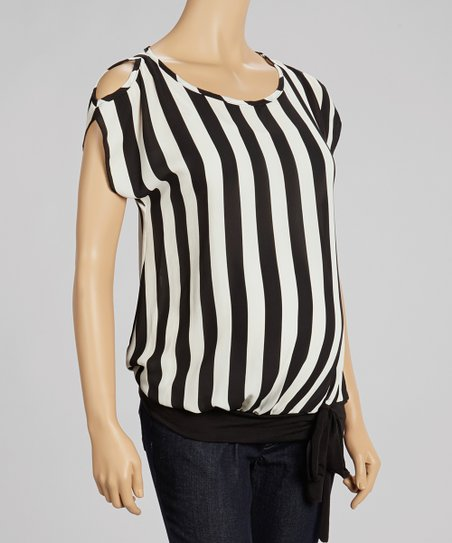 Black & White Sheer Stripe Maternity Top