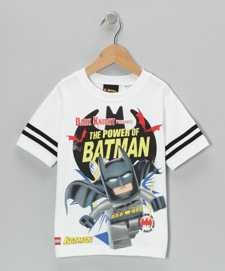 White & Gray LEGO 'The Power of Batman' Tee - Kids