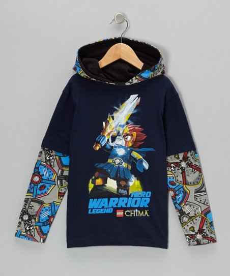 Black & Blue LEGO 'Chima' Layered Hooded Tee - Kids
