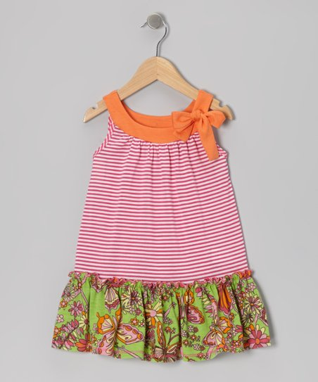 Fuchsia Stripe Ruffle Yoke Dress - Toddler & Girls