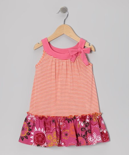 Orange Stripe Ruffle Yoke Dress - Toddler & Girls