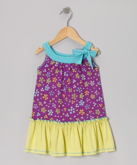 Purple Floral Ruffle Yoke Dress - Toddler & Girls