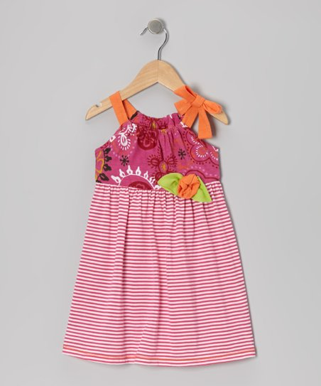 Fuchsia & Orange Stripe Tie Dress - Toddler & Girls