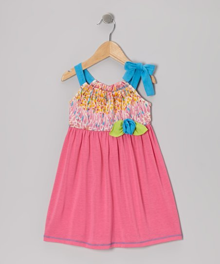 Fuchsia & Turquoise Tie Dress - Toddler & Girls