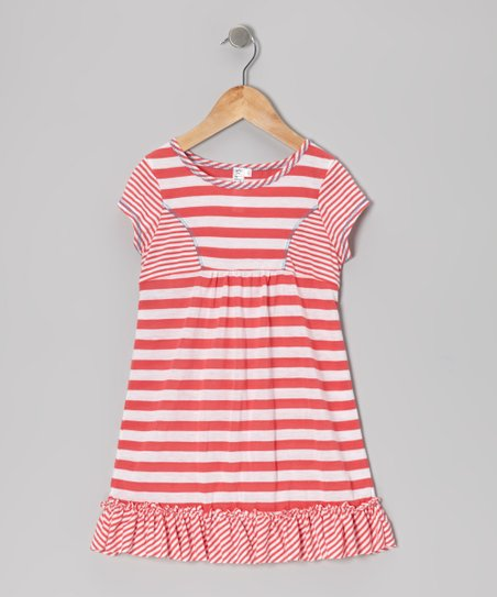 Coral Stripe Ruffle Princess Dress - Toddler & Girls