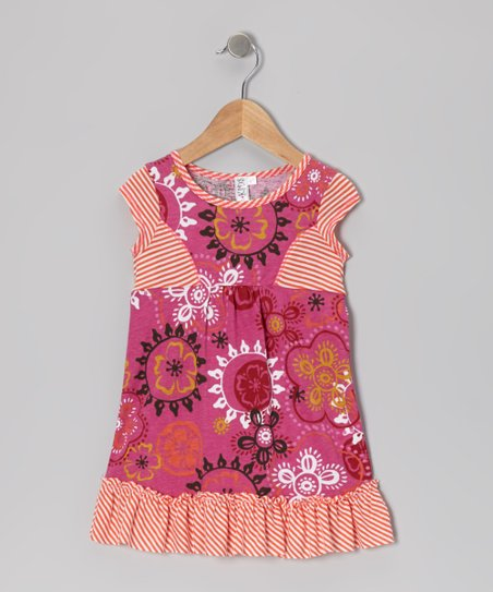 Fuchsia Floral Ruffle Princess Dress - Toddler & Girls