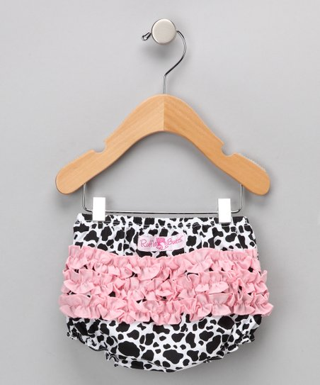 Pink Cow Ruffle Diaper Cover - Infant &amp; Toddler