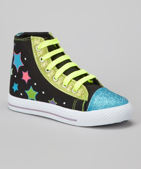 Black & Blue Glitz Hi-Top Sneaker