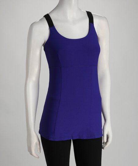 Purple Shirred- Back Tank