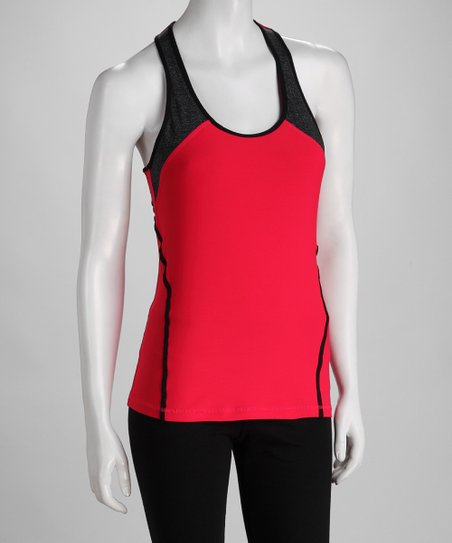 Fuchsia & Black Color Block Tank