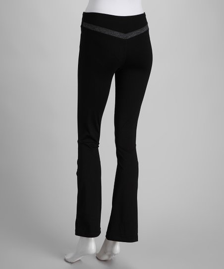 Black & Charcoal V-Back Yoga Pants