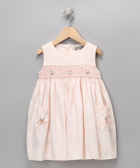 Peach Rosebud Smocked Linen-Blend Dress - Infant & Toddler