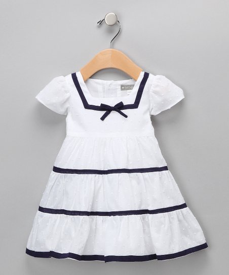 White &amp; Navy Nautical Dress - Infant