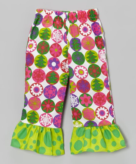 Green Christmas Ruffle Pants - Toddler & Girls