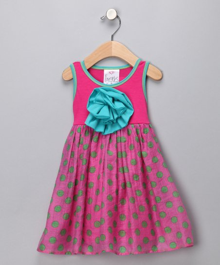 Pink Polka Dot Peony Babydoll Dress - Infant, Toddler & Girls