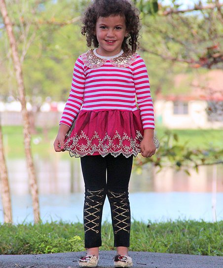 Pink & White Stripe Sequin Collar Dress - Infant & Toddler