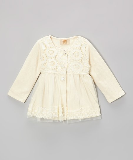 Crème Pearls & Flowers Lace Jacket - Toddler & Girls