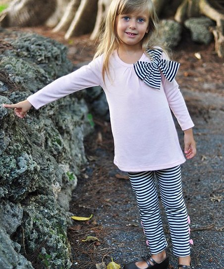 Pink & Gray Bow Tunic & Leggings - Girls