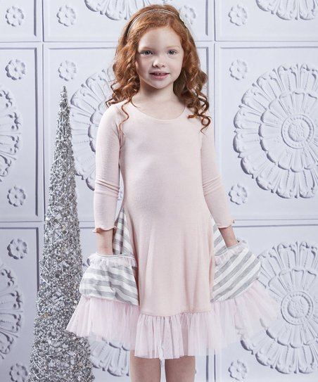 Gray & Pink Stripe Pocket Ruffle Dress - Toddler & Girls