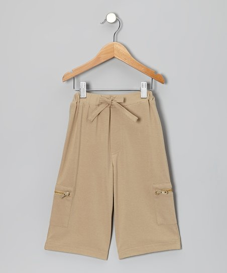 Almond Organic Cargo Cropped Pants - Infant & Kids