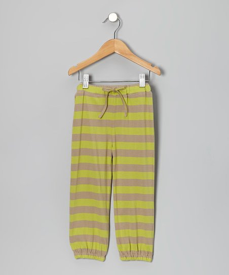 Dill & Taupe Stripe Organic Sweatpants - Infant