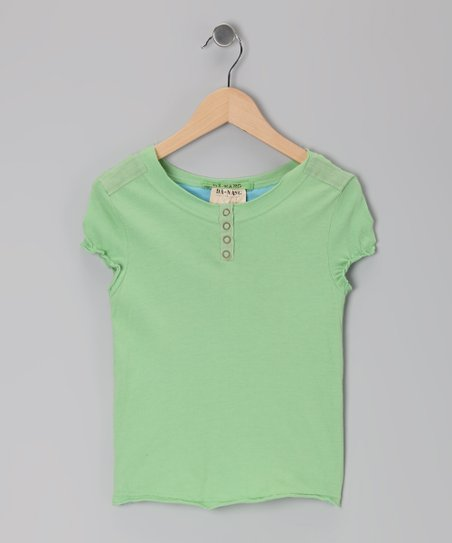 Apple Green Puff-Sleeve Henley