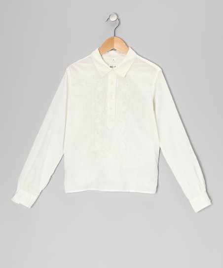 White Embroidered Long-Sleeve Polo - Girls