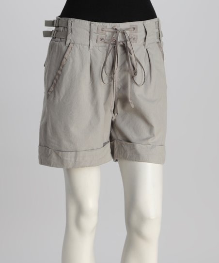 Gray Silk-Blend Shorts