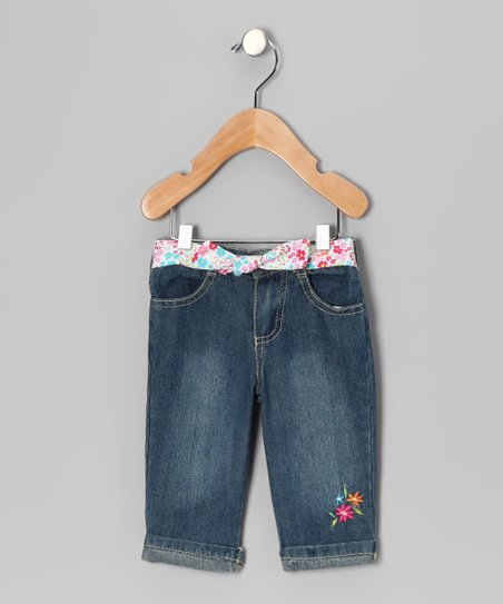 Medium Wash White Flower Cropped Jeans - Infant & Toddler