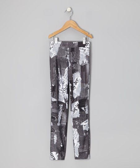 Gray Newspaper Capri Pants - Girls