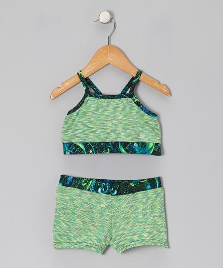 Green Fairy Foil-Trim Sports Bra & Shorts - Girls