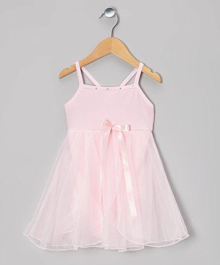 Pink Bow Babydoll Skirted Leotard - Girls
