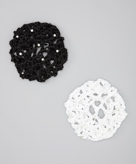 Black & White Rhinestone Large Bun Holder Set