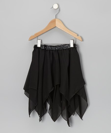 Black Sequin Handkerchief Skirt – Toddler & Girls