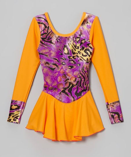 Orange & Purple Leopard Skating Dress - Girls