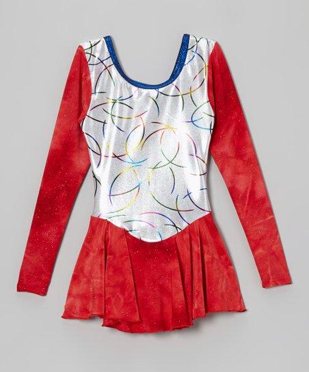 Red & White Swirl Skating Dress - Girls