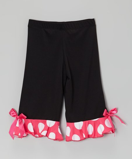 Black & Hot Pink Ruffle Capri Pants - Girls